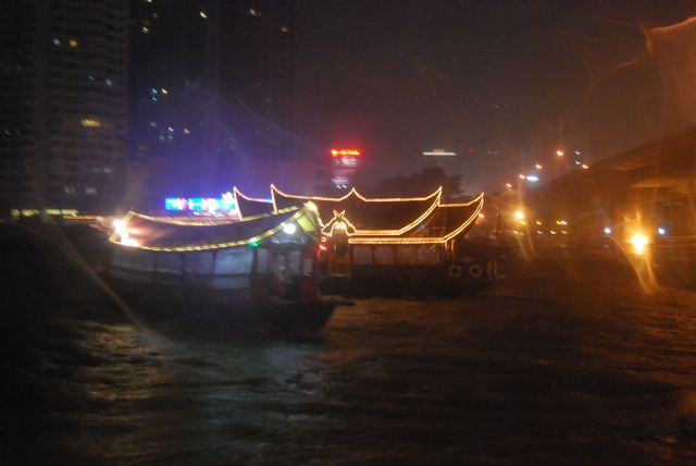 Boats At Night David Bonnie Bangkok Thailand davidbonnie.com