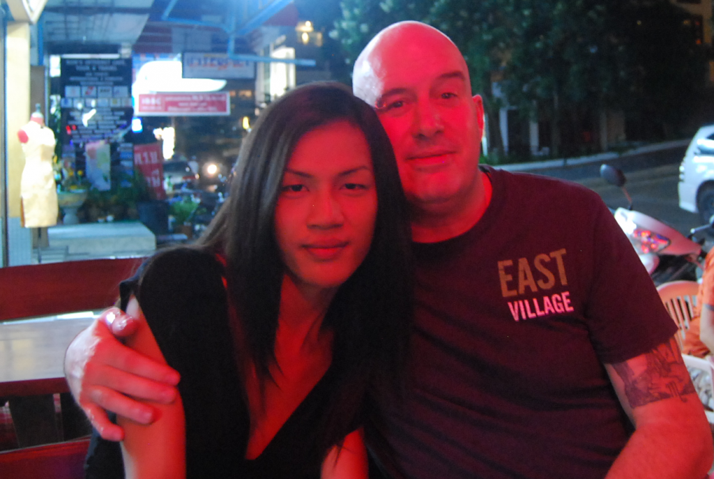 David and Annie at Outdoor Restaurant at Night David Bonnie Bangkok Thailand davidbonnie.com