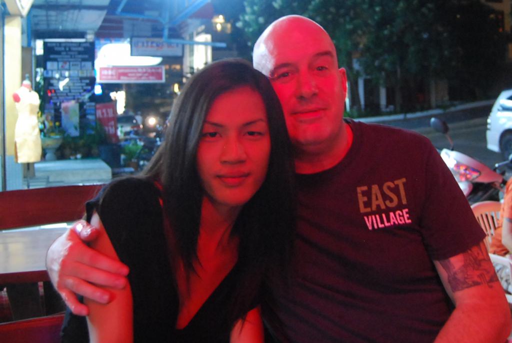 David and Annie at Outdoor Restaurant at Night David Bonnie Bangkok Thailand davidbonnie.com
