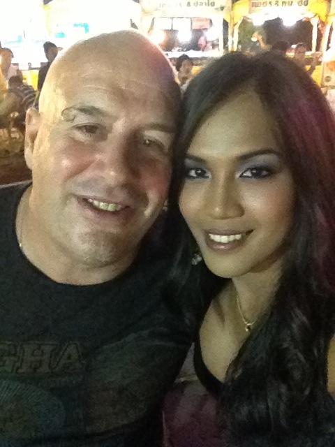 David and Annie Smiling at Outdoor Restaurant David Bonnie Bangkok Thailand davidbonnie.com