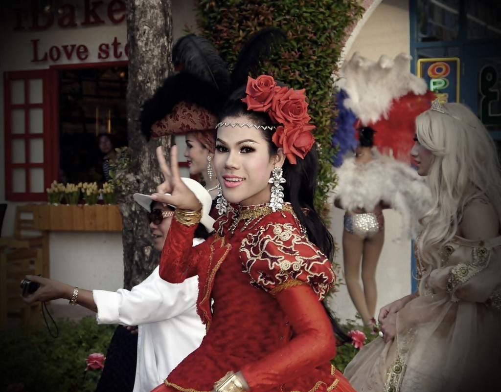 Ladyboy Making V Sign in Red Dress David Bonnie Bangkok Thailand davidbonnie.com