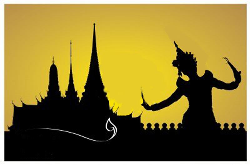 Thai Woman Dancing With Temple Silhouette David Bonnie Bangkok Thailand davidbonnie.com