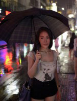 Thai Woman With Umberella Rain David Bonnie Bangkok Thailand davidbonnie.com